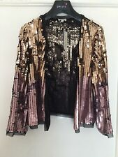 BNWT River Island pink and gold sequin bolero/jacket Size 8 SOLD OUT