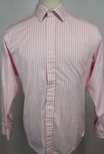 Polo Ralph Lauren Curham Custom Fit Pink/White Striped Shirt Mens 17.5 34/35 EUC