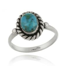 925 Silver Turquoise Vintage Solitaire Ring Size 8