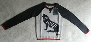 Kids Wolf Be Wild Knit Jumper Top Age 5-6 Years Cherokee Brand New With Label