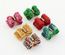 50x Bling Rhinestone Pet Small Dog Hair Bows W/Rubber band Grooming Accessories
