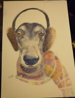 Greyhound in Winter Art Print A4 Matte Hound Art Bargain Price Surplus Stock