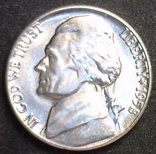 New listing 1958 D Jefferson Nickel Unc Five Cent Choice Bu Coin from Bwr Made in Usa