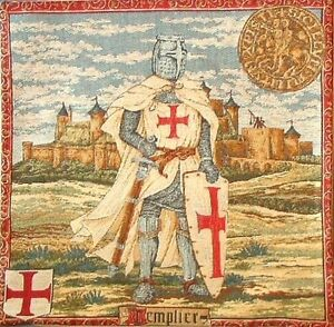 TEMPLIER, KNIGHTS TEMPLAR 18 INCH COTTON BELGIAN TAPESTRY CUSHION COVER