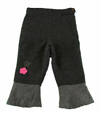 JACADI Girl's Appeler Gravel Grey Pants With Flower Designs Sz 4 Years NWT $66