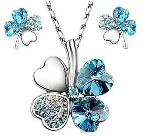 4 Leaf Clover Austrian Crystal pendant & Earring Sets Sapphire