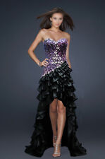 ROCK THE CARPET! BLACK & PURPLE BEADED FORMAL/EVENING/PROM HIGH-LOW HEM AU20US18