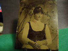 1/2 Half Plate Tintype of Beautiful Young Girl w/Pink and Gold Tinting