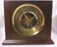 Bulova Quartz Executive World Time Desk Mantel Clock Wood Gold Color Accents