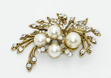 Crystal Brooch Pin with 4 Pearl Accents Antique Gold Color Coat Pendant