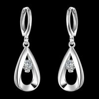 Fashion Wedding Party Silver 925 Charm Crystal Women Hoop Dangle Earring Jewelry
