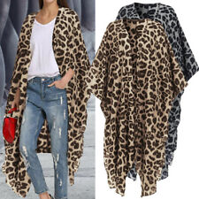 Women Plus Size Loose Leopard Cover Up Coat Jacket Kimono Cardigan Beach Holiday