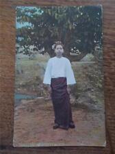 Rare Ethnic c1906 Typical Burmese Girl Postmarked Rangoon Burma Yangon Colour