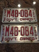 1940's ? Gov't Owned Public Use Virginia Pair License Tags Plates. #M48-084 Va