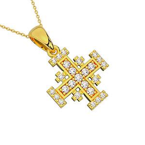 Jerusalem Cross Pendant 25 Natural Diamond Solid 14K Gold Jewelry Made in Israel