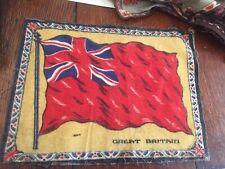 "ANTIQUE EARLY 1900'S FLANNEL TOBACCO CIGARETTE FELT FLAG GREAT BRITAIN 11 X 8.5"""