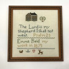 New ListingCompleted Finished Cross Stitch Framed Art Sampler Psalm 23 Religious on Linen