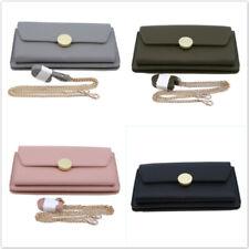 Women's Faux PU Leather Solid Handbag Large Capacity Long Zipper Messenger Bag