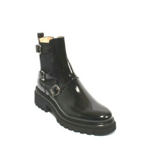 Luca Grossi 036 Black Patent Leather Elastic Zip Ankle Buckle Boot 40 / US 10