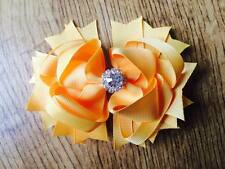 1 x 4.5 INCH YELLOW RING HAIR BOW ALIGATOR CLIP AND ADDED CENTRE RHINESTONE