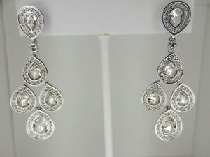 Signed Swarovski Earrings SENSATION Chandelier Rhodium Plated Post