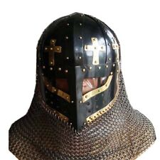 Face Plate Spectacle Helmet With Chain mail Aventail Steel Battle Ready Crusader