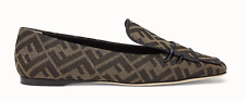 Fendi Freedom Brown Black FF Logo Fabric Mocassin Loafer Mule Slipper Flat 40
