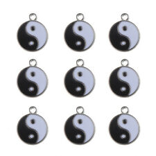 10X Tai Chi Yin Yang Ba Gua Charm Enamel Pendant 18mm Fit DIY Necklace Bracelet