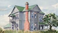 HUGH MERRITT SARGENT 1986 California shore house original watercolor