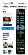 Mando a distancia LG para LCD LED PLASMA OLED SMART TV NO REQUIERE PROGRAMACION