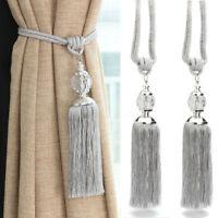 2PCS Curtain Holdbacks Rope Tie Backs Tassel Tiebacks Beaded Ball Decor Silver !