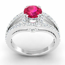Real 1.34 Ct Diamond Natural Ruby Rings 14K White Gold Size 7