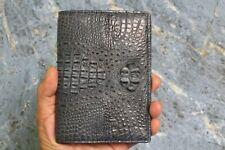 Dark Blue Genuine Alligator Crocodile Leather Skin Passport Cover Holder Wallet