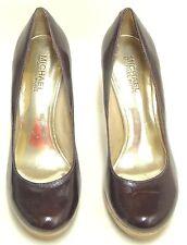 MICHAEL KORS Women's Nash Brown Patent Leather Platform Pump Cork Heel SIZE 6.5M