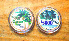$5000. Coconut Tree Casino Chip - Jamaica - CHIPCO