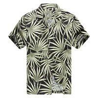 Made in Hawaii Men Hawaiian Aloha Shirt Luau Cruise Party Bamboo Leaf Black GRN