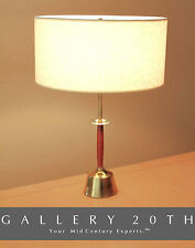 MID CENTURY MODERN DANISH WALNUT BRASS DESK LAMP! 50s Eames Light Vtg Thurston