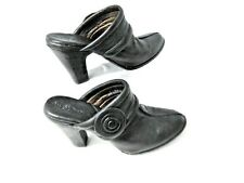 Born Crown Mules Size 9 Mules Heels Slip On Black Leather