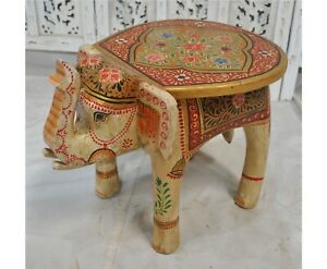 Fine Hand Carved and Painted Hard Wood Elephant Shaped Side Table Stool