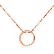 Cute Circle Rose Gold GP Clavicle Surgical Stainless Steel Pendant Necklace Gift