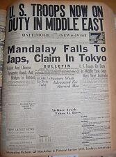 May 2 1942 Mandalay Falls To Japs Claims In Tokyo Japs Mass Near Australia BNP 7