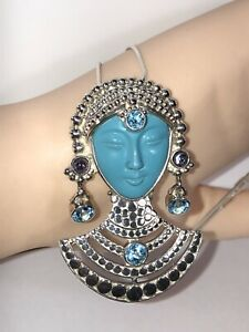 "Vintage Sajen Goddess Pendant with Multi Gemstones on 18"" silver Chain"