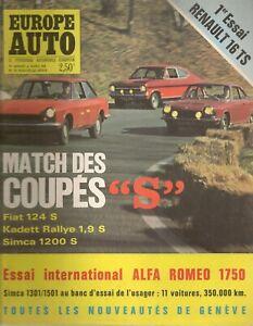 EUROPE AUTO 1968 14 ALFA ROMEO 1750 RENAULT 16 TS SIMCA 1301 1501 SALON GENEVE