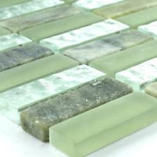 Glas Marmor Naturstein Mosaikfliesen Grün Mix Sticks für Steinwand Duschwand Bad
