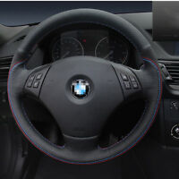 For BMW X1 Car Steering Wheel Cover DIY Hand-stitched Non-slip Black Leather