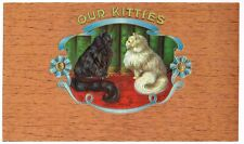 Cigar Box Label Vintage Inner Our Kitties Cats Kittens C1910 Embossed Untrimmed