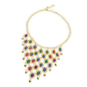 Women's Retro Tribal Belly Dance Sequins Necklace Gold Coin Beads Dance Jewelry