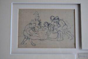 "Philippe Auguste JEANRON (1810-1877) - Dessin au fusain - ""Troubadours"" - 19 ème"