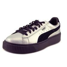 Puma Basket Platform Explosive Women US 11.5 Silver Sneakers