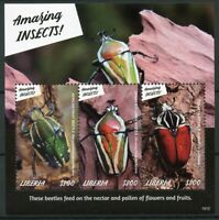 Liberia 2019 MNH Amazing Insects Goliath Beetle 3v M/S Beetles Stamps